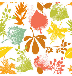 Fall leaf and rosehip pattern vector