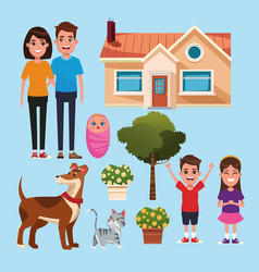 Family and home cartoons vector