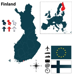 Finland and European Union map vector image