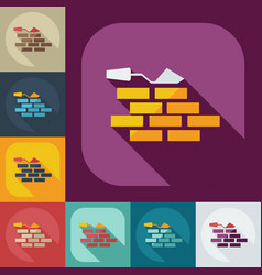Flat concept set modern design with shadow wall vector