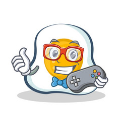 Gamer fried egg character cartoon vector
