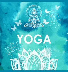 Girl in lotus yoga pose on watercolor background vector