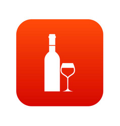 glass and bottle of wine icon digital red vector image