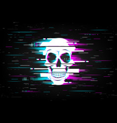 Glitch on screen with human skull backdrop vector