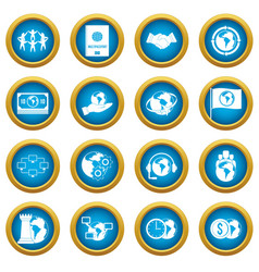 global connections icons blue circle set vector image