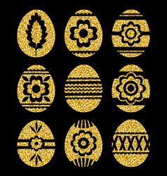 golden easter eggs isolated on black background vector image