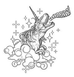 Graphic tyrannosaurus with unicorn horn and mane vector