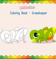 Grasshopper coloring book educational game vector