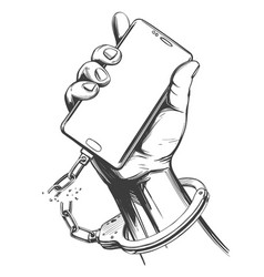 Hand handcuffed to a smartphone with a broken vector