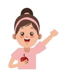 happy little girl holding apple icon vector image