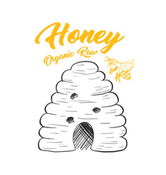 honey sketch bee hive isolated vector image