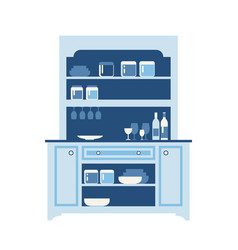 Hutch buffet with dishes different bottles vector