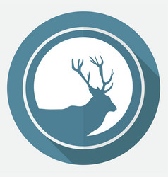 Icon deer on white circle with a long shadow vector