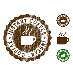 Instant coffee stamp seal with grungy surface vector