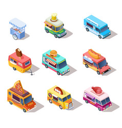 Isometric street food trucks and carts selling vector