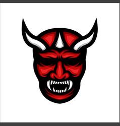 japanese demon mask colorful on white background vector image