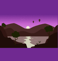 Landscape with mountains and moon vector