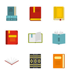 library icons set flat style vector image