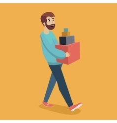 Man carries boxes cartoon vector