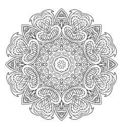 Mandala doodle drawing ethnic motives relaxing vector