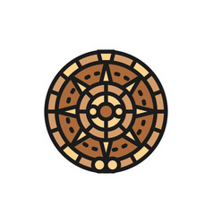 mayan calendar mexican ethnic ornament flat color vector image