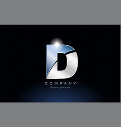 Metal blue alphabet letter d logo company icon vector