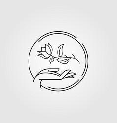 minimalist botanical and hand logo vector image