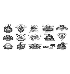 motorcycle badges bikers club emblems motorbike vector image