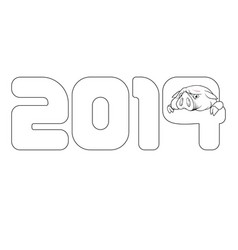 Outline of the pig peeking out of the new year vector