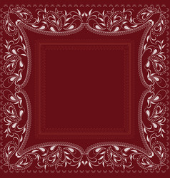 Paisley bandana- red and white pattern vector