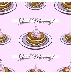 Pancakes Pink Seamless Pattern vector image