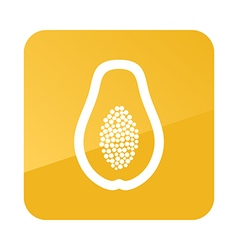 Papaya outline icon Tropical fruit vector
