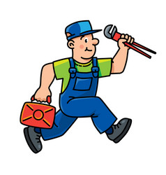 plumber or repairman with the tools is running vector image