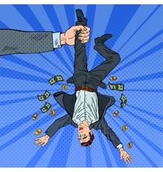 Pop Art Businessman Loosing his Last Money vector image