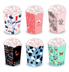 Popcorn bucket boxes design vector