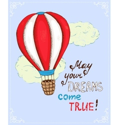 Poster with hot air balloon vector