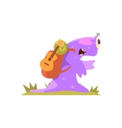 Purple Slug Jelly Monster Carrynig Backpack And vector