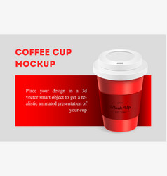 Red coffee cup mockup on red background vector