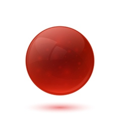 Red glossy glass sphere vector image