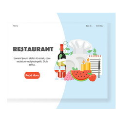 restaurant website landing page design vector image