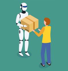 robot machine giving cardboard box to man vector image