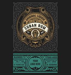 Rum label vintage design retro vector
