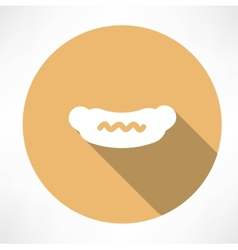 Sausage with mustard icon vector image