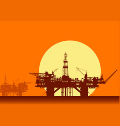 Sea oil rigs offshore drilling platforms vector