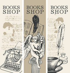 Set banners for books shop in retro style vector