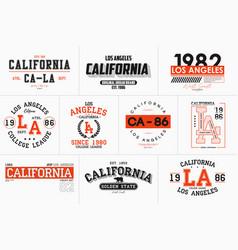 set california los angeles prints for t-shirt vector image