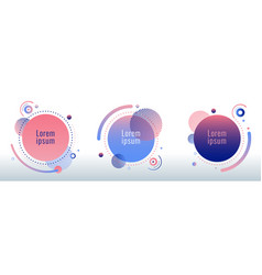 set circle round badges pink and blue gradient vector image