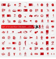 Set of invention stickers vector