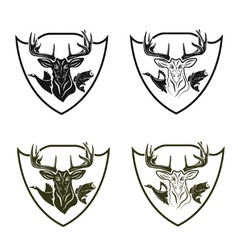 Set of vintage hunting and fishing crests vector image