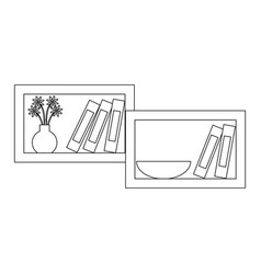 shelf with decorative objects icon vector image